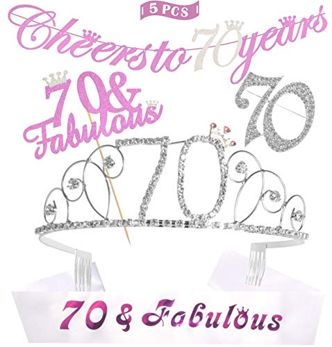 70th Birthday Decorations Party Supplies | Silver 70th Birthday Tiara | 70th White Satin Sash 70 & Fabulous | Silver Glittery Cheers to 70 Years Banner | 70 and Fabulous Cake Topper | 70 Silver Rhine -