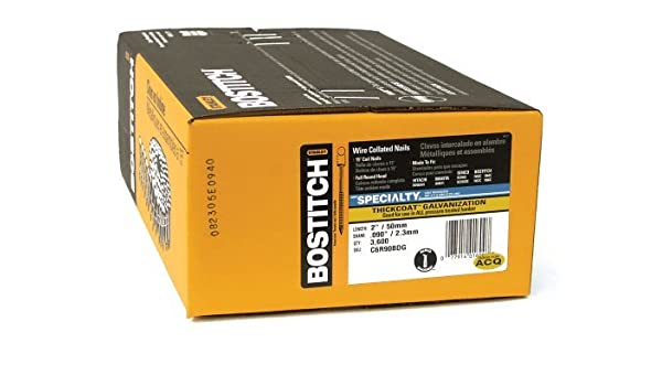 BOSTITCH C6R90BDG 2-by-0.090-Inch Thickcoat Ring Shank by 15-Degree Coil Siding
