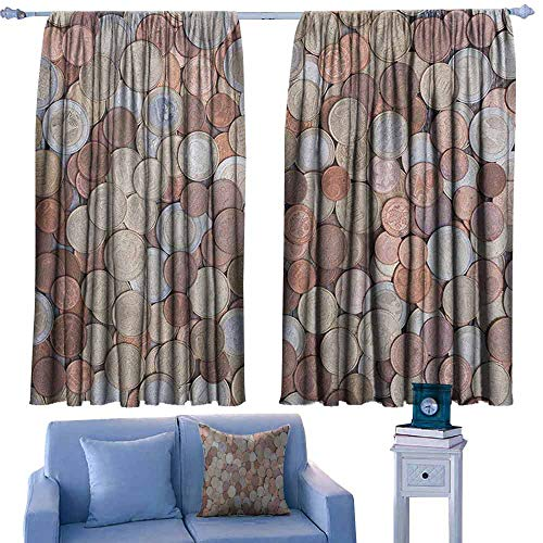 Mannwarehouse Money Durable Curtain Close Up Photo of Coins European Union Euros Cents on Rustic Wooden Board for Living, Dining, Bedroom (Pair) 55