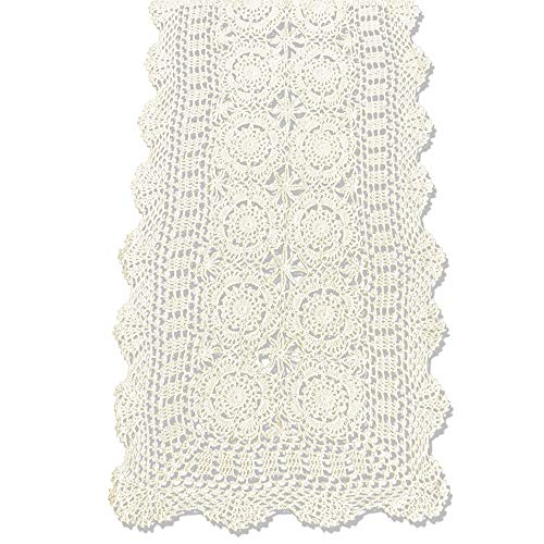 KEPSWET Cotton Handmade Crochet Lace Table Runner Beige Rectangle Coffee Table Dresser Decor (14x36 inch)