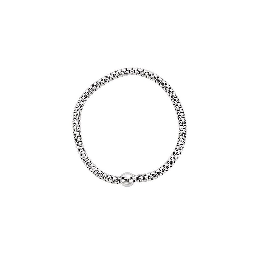 Sterling Silver White Rhodium Plated 4.3mm Woven Stretch Bracelet by LoveBrightJewelry