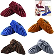 iPobie 5 Pairs Washable Overshoes,Velvet Shoe Cover,Reusable Non-Slip High Elasticity Dustproof Overshoes for