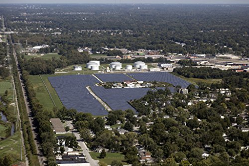 Vintography 12 x 18 Photo Aerial View an Enormous Field Solar Panels Near The Indianapolis Motor Speedway in Indianapolis, Indiana a2276 by Vintography