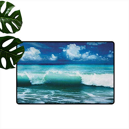 Kas Oriental Multi Waves - RenteriaDecor Ocean,American Floor mats Caribbean Island Coast Seascape Waves Water Splash Surfing Sports Theme 36