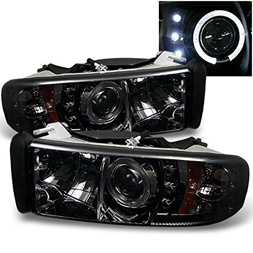Dodge Ram 1500/2500/3500 Pickup Smoke Dual Halo Ring LED Projector Replacement Headlights Left/Right