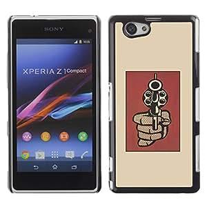 Be Good Phone Accessory // Dura Cáscara cubierta Protectora Caso Carcasa Funda de Protección para Sony Xperia Z1 Compact D5503 // Gun Pop Art Revolver Red Vignette Minimalist