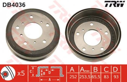TRW DB4036 Brake Drums: