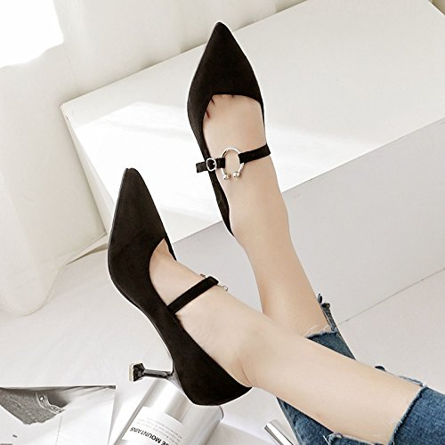 tacchi Presidente alta satinato singola alti di luce punta scarpe nero scarpe tacco metallo 36 donna calzature a in rF7rw