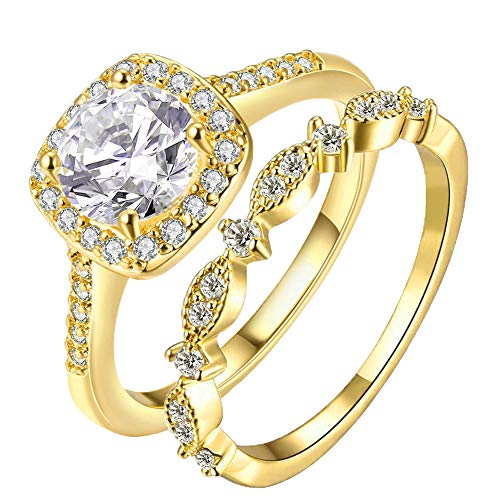 Gold Ring Plated Yellow 18k - Women's 2PCS Pretty 18K Yellow Gold Plated Princess Cut CZ Bridal Engagement Wedding Ring Set Best Anniversary Eternity Love Promise Rings for Her Heart&Arrow Jewelry Rings (Yellow Gold, 6)