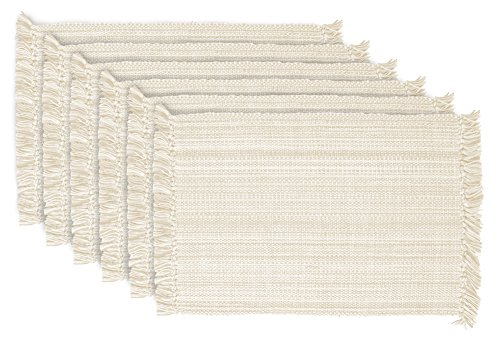 """DII Tonal Fringe Placemat, Set of 6, Variegated Off White - Perfect for Fall, Thanksgiving, Dinner Parties, Weddings, Showers and Everyday Use - SET OF SIX - Rectangular placemats measure 13x19"""", 13x23"""" with decorative fringe. EASY CARE - 100% cotton, machine washable. To minimize shrinkage, use medium heat and remove just prior to finish, lay flat to dry fully. ADDS A FINISHING TOUCH -  Small accents like our napkins provide a subtle & sophisticated impact to your dining display. - placemats, kitchen-dining-room-table-linens, kitchen-dining-room - 51my%2B3WJRpL -"""