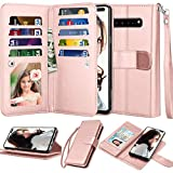 Njjex Wallet Case For Samsung Galaxy S10 5G, For S10 5G Case, [9 Card Slots] PU Leather ID Credit Holder Folio Flip [Detachable][Kickstand] Magnetic Phone Cover & Lanyard For Galaxy S10 5G [Rose Gold]