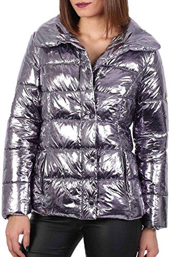 PILOT® falso metálico chaqueta de la piel del collar del soplador plata