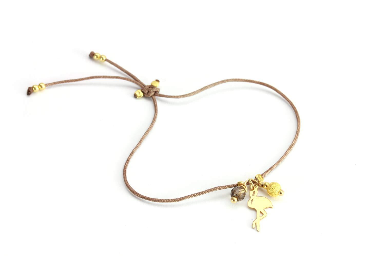 SCHOSCHON Damen Armband Flamingo Rauchquarz 925 Silber vergoldet Taupe //// Geschenkideen Freundschaftsarmband Symbol Schmuck