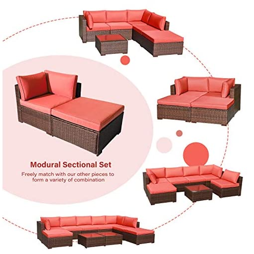 Garden and Outdoor OC Orange-Casual 2 Piece Patio Sectional Furniture Set with Back Seat Cushions, Outdoor Armchair Wicker Sofa, Ottoman… outdoor lounge furniture