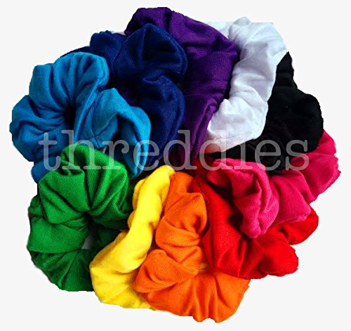 Cotton Scrunchie Set, Set of 10 Soft Cotton Scrunchies (Bright Color Assortment) by Threddies