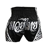 Black & Sliver Muay Thai MMA Trunks Kick Boxing Brief Amateur Boxing Short, L