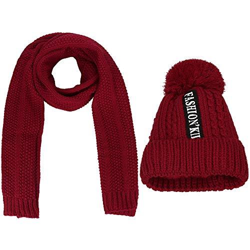 (Fasclot EFBLK Winter hat Female Scarf Set Warm Solid Color Knit Plus Velvet Thickening Wild Wool hat Winter Female 2Pcs)