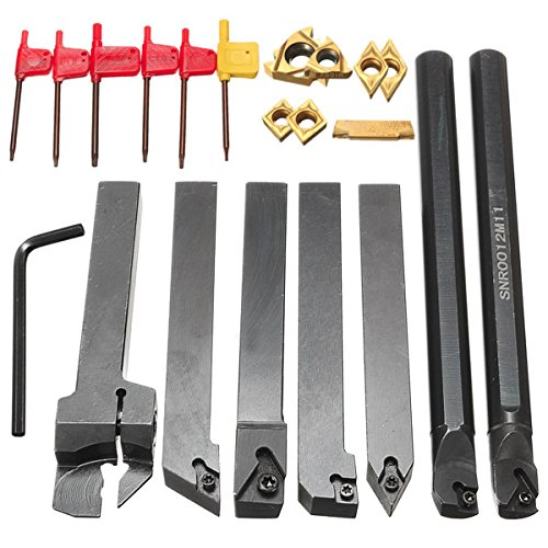 Farwind 7pcs 12mm Shank Lathe Boring Bar Turning Tool Holder Set With Carbide Inserts