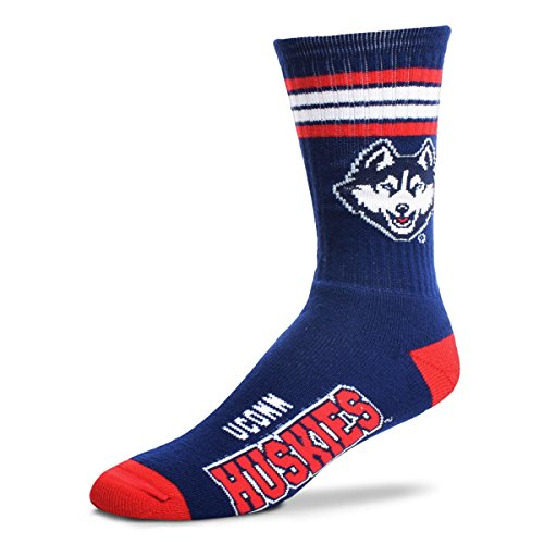 For Bare Feet NCAA 4 Stripe Deuce Crew Men Socks-Connecticut Huskies-Large