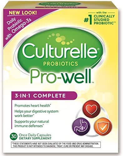 Culturelle Pro-Well 3-in-1 Complete Daily Formula, Once Per Day Dietary Supplement, Contains 100% Lactobacillus GG –The Most Clinically Studied Probiotic, Plus Omega 3's, 30 Count