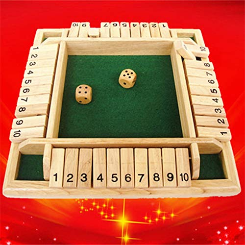 MANDIY Shut The Box Dice Game Wooden for Kids & Adults, Mathematic Traditional Pub Board Dice Game, Four Sided 4 Players Wooden 10 Number Amusing Game for Learning Addition Green-02