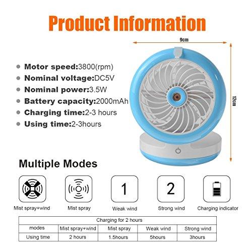 Cingk Personal Fan Cooling Misting Fan, Portable USB Rechargeable Fan, Power Bank, Table Desk Mini Humidifier, Multifunction 3 in 1, Blue by Cingk (Image #2)
