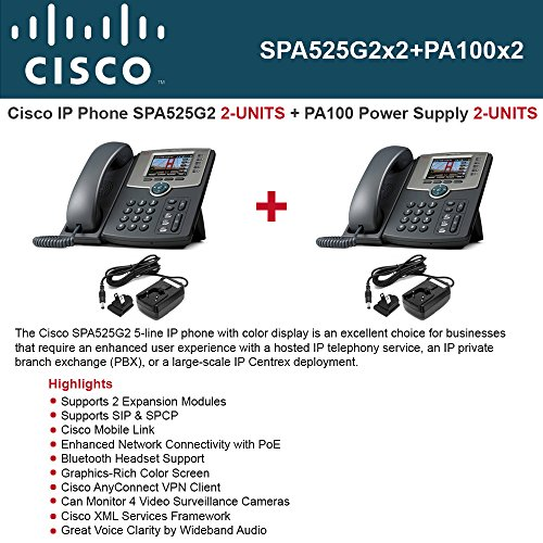 Cisco Phone SPA525G2 2-UNITS 5-Line IP Phone VoIP 802.11g 3.2 Color Display Bluetooth PoE USB 2.0 with Cisco PA100-NA 2-UNITS Power Supply (Usb Voice Over Ip Phone)