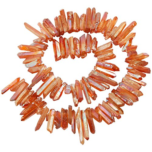SUNYIK Orange Titanium Coated Crystal Points Quartz Rough Sticks Spikes Point Beads 15 inch Strand (Orange Quartz Crystal)
