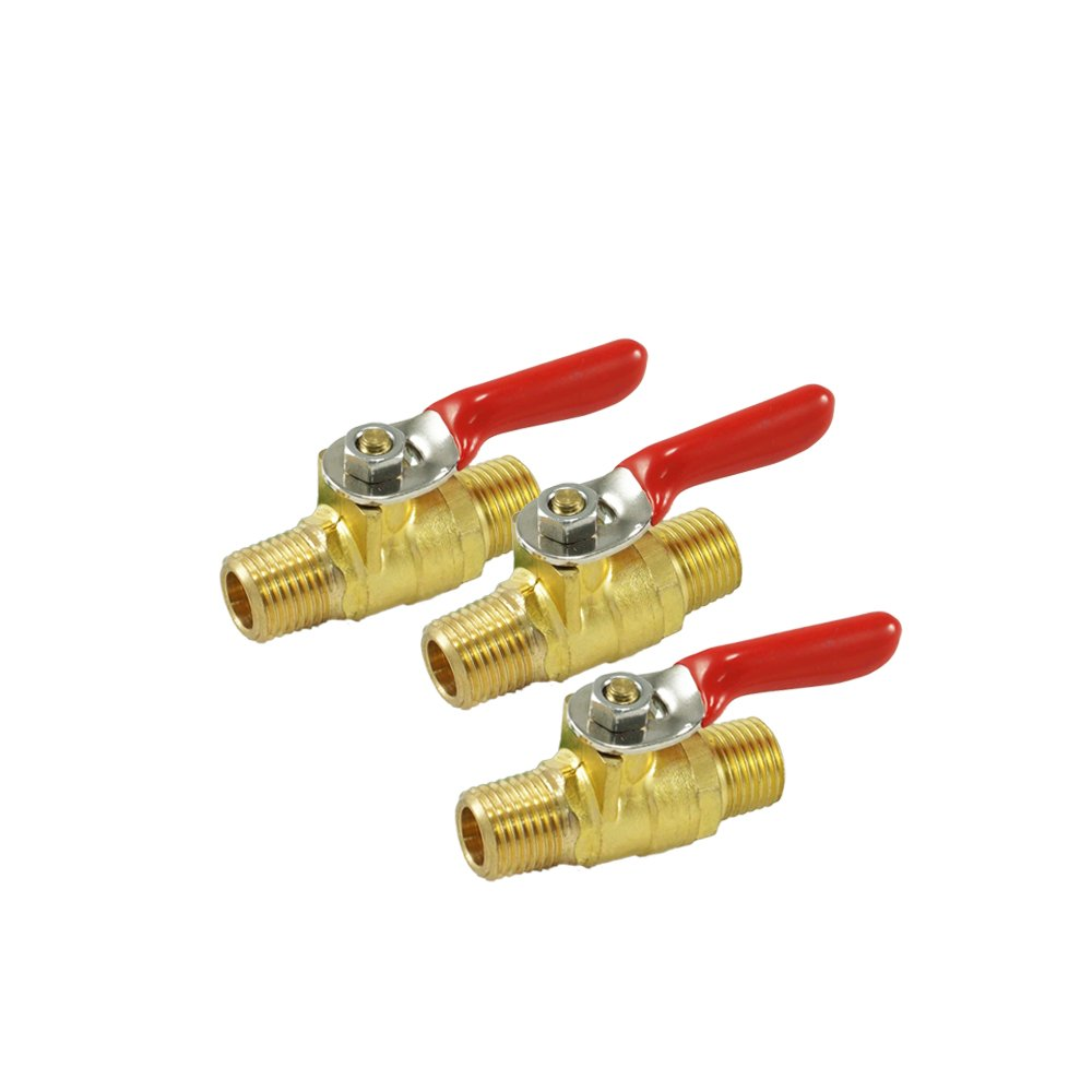 """NIGO AN11 Series Forged Brass Mini Ball Valve, 1/8"""" NPT Male x 1/8"""" NPT Male, 180 Degree Operation Handle, Rated to 600WOG - 3 Pack"""
