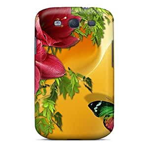 Awesome Design Red Blossosms On Gold Satin Hard Case Cover For Galaxy S3