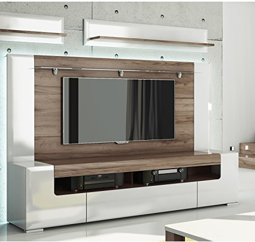 Toronto TV Cabinet with Wall Panel - Large - Living Room Entertainment Center / Large TV media storage / Fit for up to 84 inch flat panel TV / High Capacity TV Stand / Toronto Collection Design