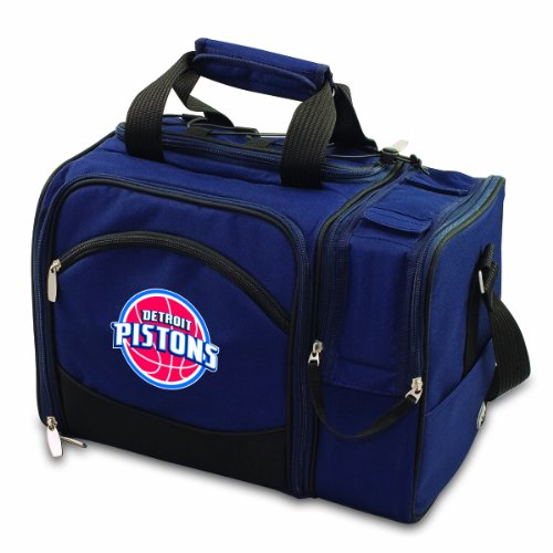 NBA Detroit Pistons Malibu Insulated Shoulder Pack with Deluxe Picnic Service for Two by PICNIC TIME