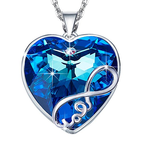 ANCREU Heart Ocean Necklace Love Heart Pendant Necklaces for Women Made with...