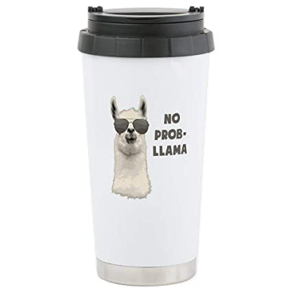 eb23a1ff4d2 Image Unavailable. Image not available for. Color: CafePress No Problem  Llama Travel Mug ...