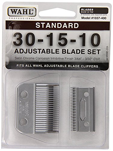 Wahl Professional 1037-400 Standard Adjustable Replacement Blade Set, 30-15-10 with Bonus Blade Brush by Wahl