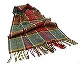 "Irish Wool Scarf Earthtone Plaid 63"" x 12"" Made in Ireland"