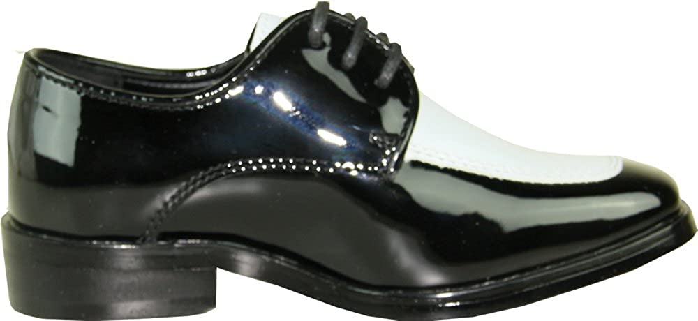 45af2e22f9dac VANGELO Boy Tuxedo Shoe TUX-3K Two-Tone Square Toe Wrinkle Free Material  for Wedding & Formal Event Black & White Patent 12K