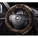 YunNasi Plush Stretch-On Vehicle Steering Wheel Cover Car Wheel Protector Warmer Hands In Winter (Brown)