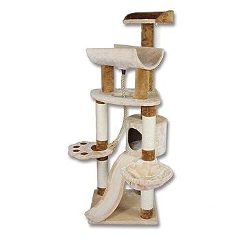 YXINY Perrera Juego de Gato Árbol y Torre Escalada Marco Play Actividad Centro Beige + Marrón Fácil de Instalar Alto 145cm: Amazon.es: Hogar