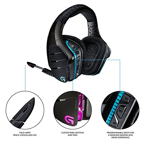 Logitech G933 Artemis Spectrum - Wireless RGB 7.1 Dolby and DTS:X HeadphoneX Surround Sound Gaming Headset - PC, PS4, Xbox One, Switch, and Mobile Compatible - Advanced Audio (Renewed)