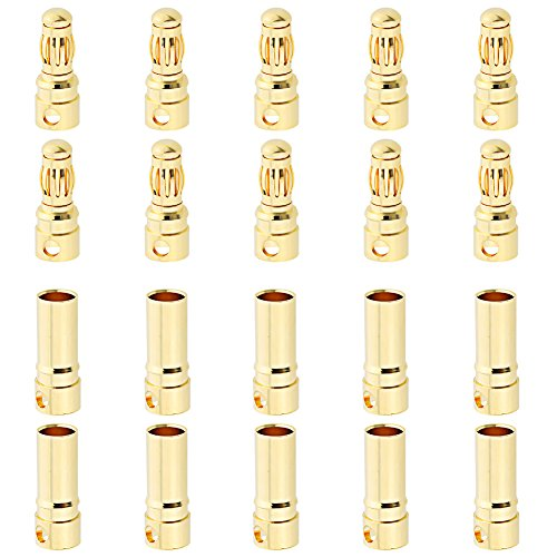 Hobbypark 10 Sets Female Male 3.5mm Gold Bullet Banana Connectors RC ESC LIPO Battery Device Electric Motor Wire Parts ()