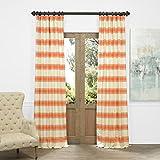 Cheap HPD HALF PRICE DRAPES JQCH-AS214296-84 Horizontal Stripe Jacquard Curtain, Tyler Rust/Cream, 50″ x 84″