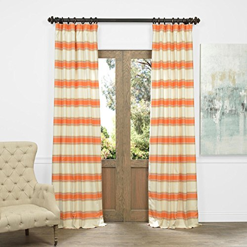 Half Price Drapes JQCH-AS214296-96 Horizontal Stripe Jacquard Curtain, Tyler Rust/Cream, 50