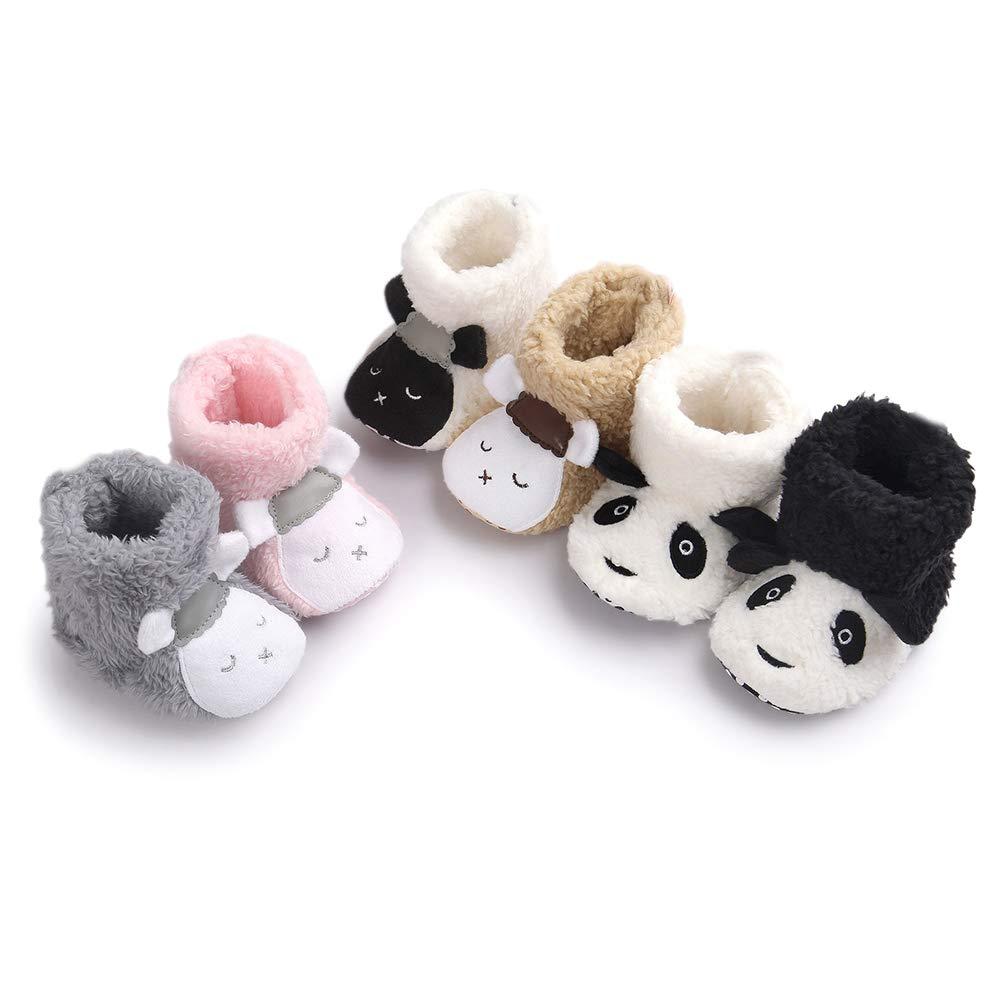 Brown 13cm Alamana Lovely Sheep Panda Baby Infant Plush Warm Anti-Slip Prewalker Toddler Shoes