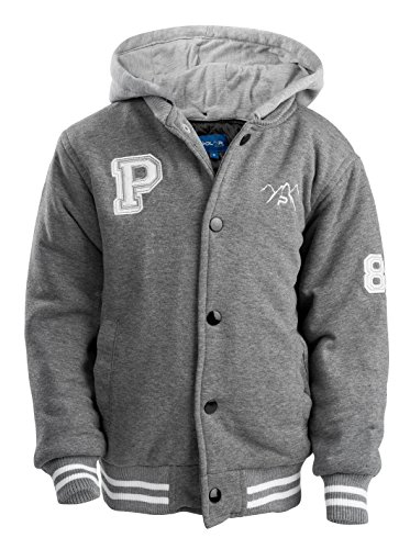 The Polar Club Big Boys' Fleece Varsity Baseball Jacket with Removable Hood (Gray- M/10-12)