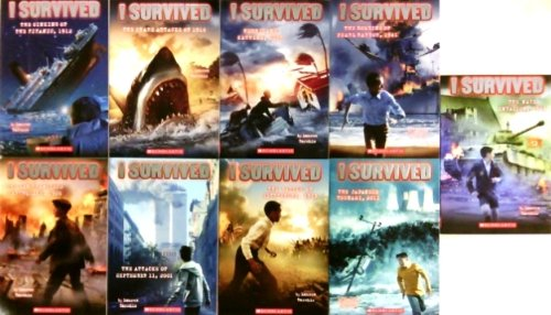 I Survived Pack Set of 9 Books, Japanese Tsunami, Sinking Titanic, Shark Attacks, Hurricane Katrina 2005, Bombing Pearl Harbor 1941, San Francisco Earthquake 1906, Attacks of September 11, 2001, Gettysburg - Pearl Hurricane