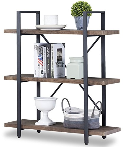 O&K Furniture 3-Shelf Industrial Bookcase and Book Shelves, Free Standing Storage Display Shelves, Brown by O&K Furniture (Image #7)