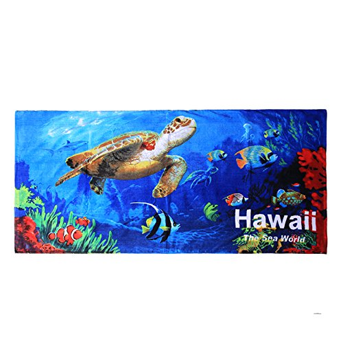 Hawaii Beach Towel 100% Cotton 60x30 Blue Sealife Fish Sea Turtles Shark by Palm Wave