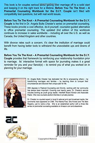 Before you tie the knot a premarital counseling workbook for the before you tie the knot a premarital counseling workbook for the diy couple angela b chester 9781304296986 amazon books solutioingenieria Choice Image