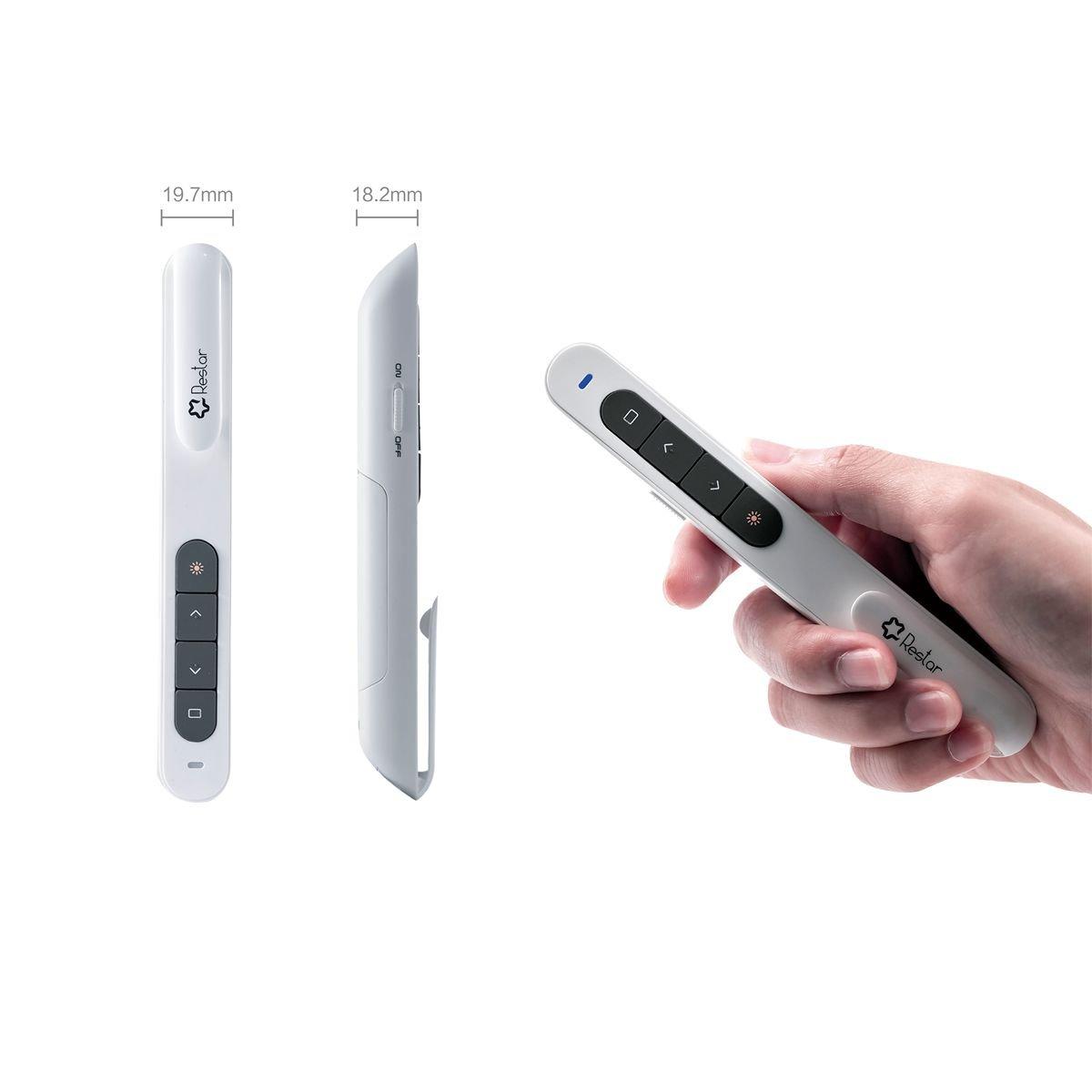 Wireless Laser Presenter, Restar 2.4GHz Wireless USB PowerPoint Presentation Remote Control Pointer Clicker Presenter Laser Flip Pen with Clip (White) by Restar Laser Pointer (Image #7)